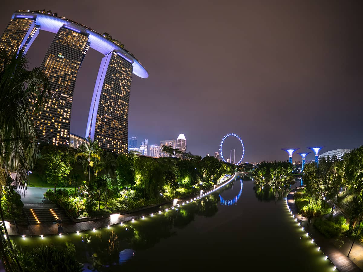 Gardens by the bay with Marina Bay Sands Hotel.